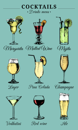colada: Hand sketched alcoholic beverages and cocktails glasses. Vector drinks color illustrations set, pina colada,red wine etc