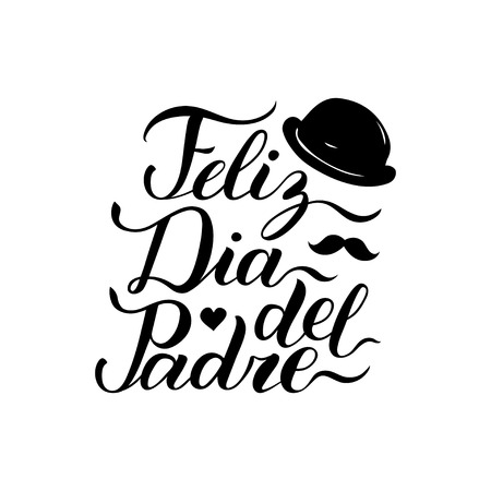 Vector calligraphy Feliz Dia Del Padre, translated Happy Fathers Day for greeting card, festive poster etc. Stock Illustratie