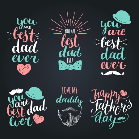 logotypes: Happy Fathers Day vintage logotypes set. Vector calligraphy collection, You Are Best Dad Ever, Love Me Daddy etc.