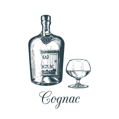 Hand sketched cognac bottle and glass. Vector illustration of brandy set. Vintage alcoholic drink menu design concept.