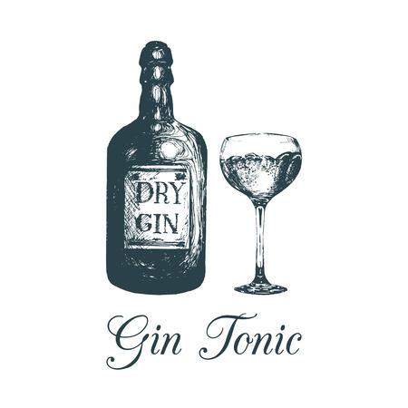 Mano bosquejó la botella y el vidrio de la ginebra. Dibujo de la bebida alcohólica. Ilustración del vector del cóctel tradicional para la cafetería, menú de la barra