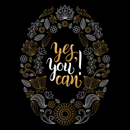 can yes you can: Yes, You can vector hand lettering poster. Motivational quote, inspirational phrase typography design for t-shirt print, card etc.