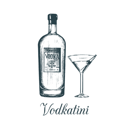 Hand sketched vodka bottle and vodkatini glass. Alcoholic drink set drawing.Vector illustration of traditional cocktail. Stok Fotoğraf - 77830572