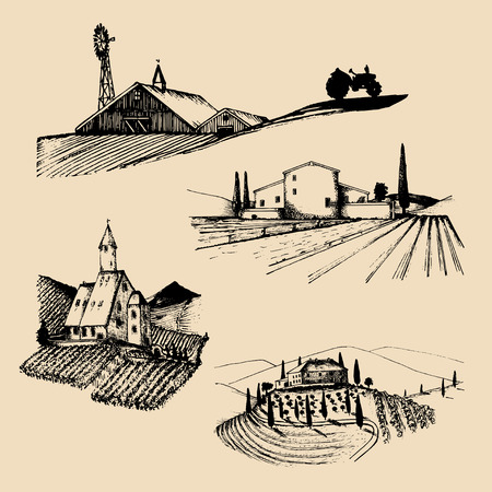 Vector farm landscapes illustrations set. Sketches of villa, vineyard, abbey, agricultural homestead in mountains,hills. Векторная Иллюстрация