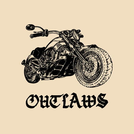 chopper: Vector motorcycle sketch with gothic handwritten lettering Outlaws. Vintage poster with custom chopper. Illustration