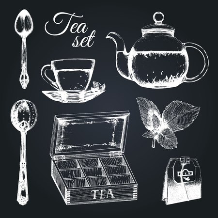 Hand drawn vector tea set. Illustrations collection of kitchen glass and silver appliances in sketch style, cup,pot etc. Illustration