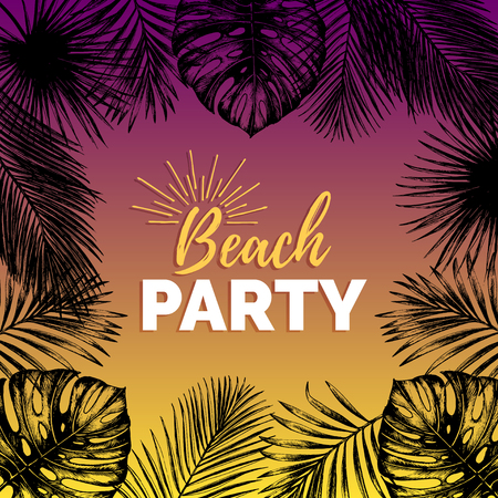 beach party: A Vector vintage beach party illustration. Exotic palm leaves background. Hand sketched jungle foliage poster.
