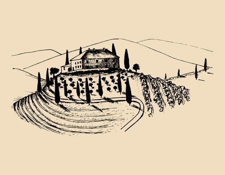 Sketch of villa, peasants house in fields. Vector rural landscape illustration. Hand drawn mediterranean homestead.