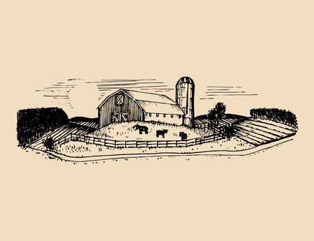 Sketch of village barn, fields and silo. Vector rural landscape illustration. Hand drawn farm, agricultural homestead.