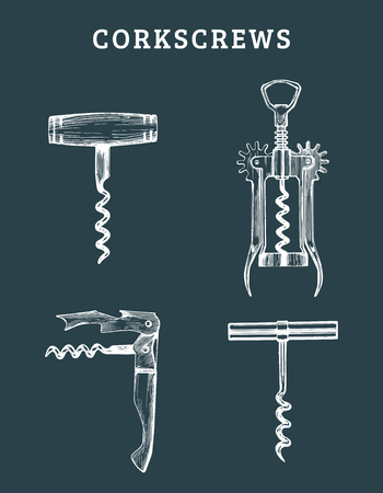 Hand drawn vector corkscrews set. Retro illustrations collection of different spins in sketch style. Stock fotó - 78273282