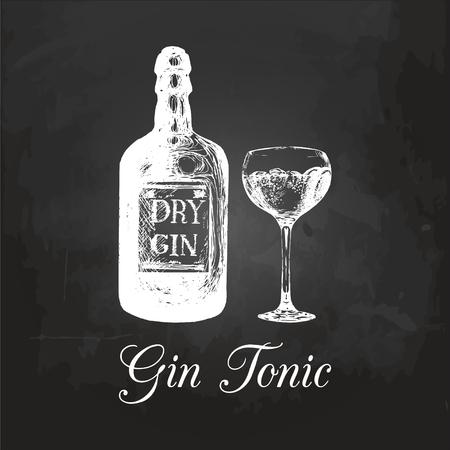 Mano esbozado botella de ginebra y vidrio tónico. Bebida alcohólica dibujo en la pizarra. Ilustración vectorial de cóctel. Ilustración de vector