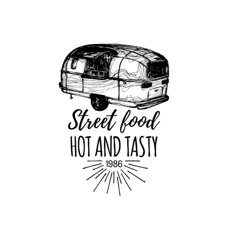 Vector vintage food truck with lettering. Ilustração