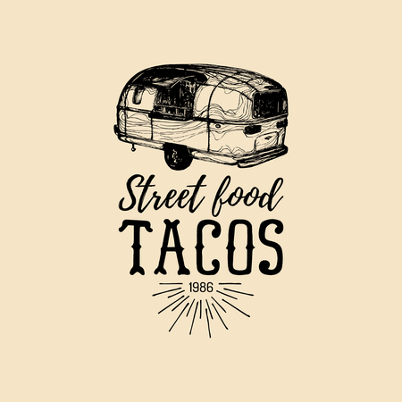 Vector vintage mexican food truck logo. Tacos icon.Retro hand drawn hipster street snack car illustration.Eatery emblem. Illustration