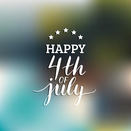 Vector cuatro de la inscripción de letras de la mano de julio para la tarjeta de felicitación etc. Fondo caligráfico del día de la independencia feliz. Foto de archivo - 79567511