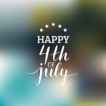 Vector Fourth of July hand lettering inscription for greeting card etc. Happy Independence Day calligraphic background. Stock Illustratie