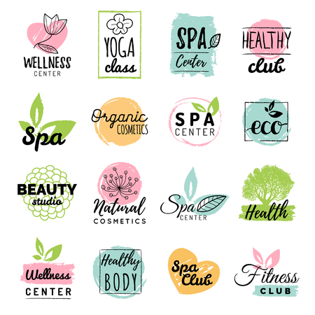 centers: Vector Health and beauty care logtypes. Spa,yoga centers badges. Wellness signs. Hand drawn tags and elements set.
