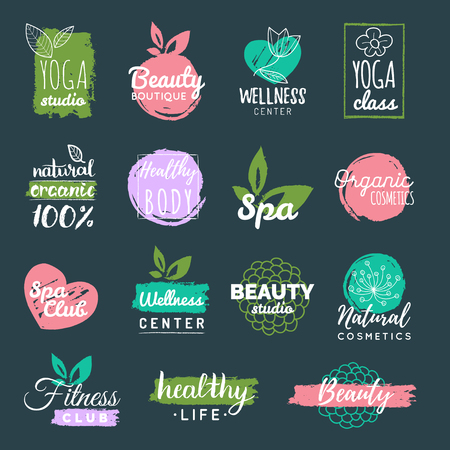 centers: Vector health and beauty care labels. Spa, yoga centers badges. Wellness signs. Hand drawn tags and elements. Illustration