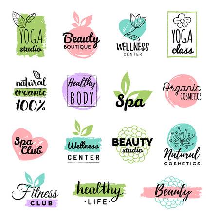 centers: Vector Health and beauty care labels. Spa, yoga centers badges. Wellness signs. Hand drawn tags and elements.