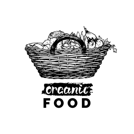 Vector organic vegetables poster. Farm fresh eco products illustration. Hand sketched wicker basket with greens. Vectores
