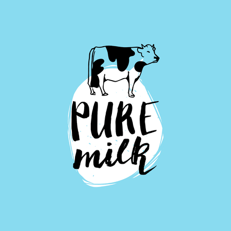Vector hand drawn milk label. Sign for dairy produce. Tag and element for products packaging, cartons, advertising etc. Illustration