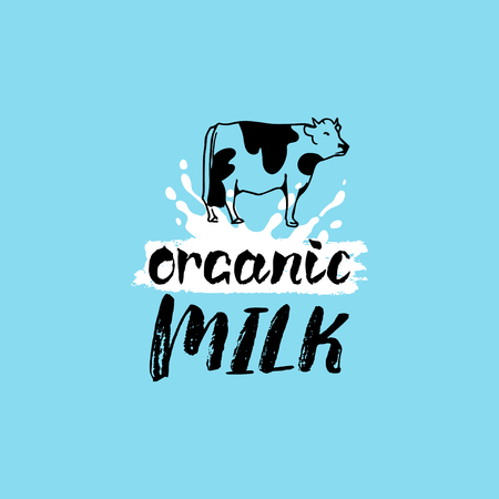 creamery: Vector hand drawn milk label. Sign for dairy produce. Tag and element for products packaging, cartons, advertising etc. Illustration
