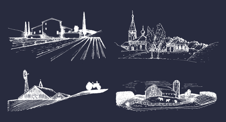 Vector village landscapes illustrations set. Hand drawn russian countryside. Sketches of farm villa,homestead in fields. Illustration