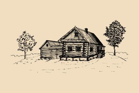 Ilustración de paisaje rural de vector. Cartel de campo ruso dibujado a mano. Bosquejo de la casa de los campesinos del pueblo