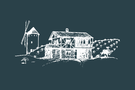 Sketch of village with windmill, fields and peasants house. Vector rural landscape illustration. Illustration