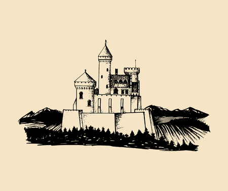 Vector old castle illustration.Gothic fortress background.Hand drawn sketch of landscape with ancient tower in mountains