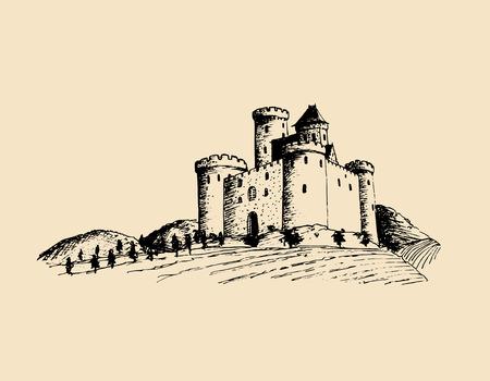 Vector ilustración castillo antiguo. Fortaleza gótica. Bosquejo dibujado a mano del paisaje con la torre entre campos y colinas rurales. Foto de archivo - 79883342