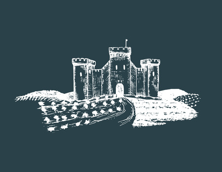 european culture: Vector old castle illustration. Gothic fortress. Hand drawn sketch of landscape with tower among rural fields and hills. Illustration