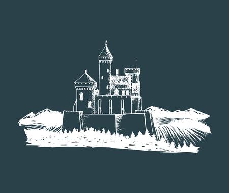 Vector oude kasteelillustratie. Gotische vesting. Hand getrokken schets van landschap met toren tussen landelijke velden en heuvels. Stock Illustratie