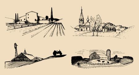 Vector village landscapes illustrations set. Hand drawn russian countryside. Sketches of farm villa,homestead in fields. Ilustração