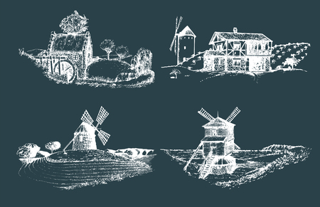 english countryside: Hand drawn old rustic mills images.Vector rural landscape illustrations set. European countryside sketches for posters. Illustration