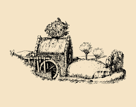 手は古い素朴な水車のスケッチ。アイルランドの田舎やスコットランドの高地のベクトル農村風景イラスト。