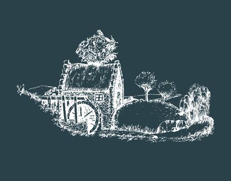 irish landscape: Hand sketched of old rustic water mill. Vector rural landscape illustration of irish countryside or scottish highlands. Illustration