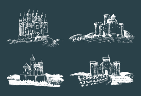 english culture: Vector old castles illustrations set. Hand drawn architectural landscapes of ancient towers with rural fields and hills.