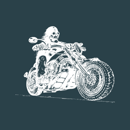 Vector hand drawn skeleton rider on motorcycle.Vintage eternal biker illustration for custom chopper garage, MC label.