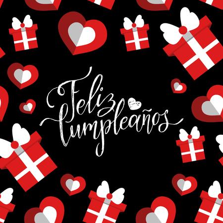 Vector Feliz Cumpleanos, translated Happy Birthday lettering design. Festive illustration with cake for greeting cards. Illustration