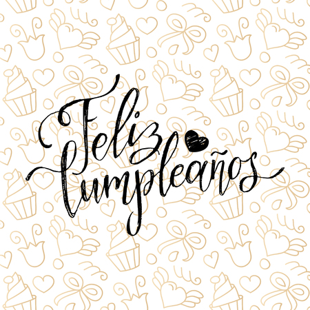 Vector Feliz Cumpleanos, translated Happy Birthday lettering design. Festive illustration with cake for greeting cards. Ilustrace