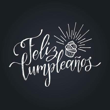 Vector Feliz Cumpleanos, translated Happy Birthday lettering design. Festive illustration with cake for greeting cards. Ilustração