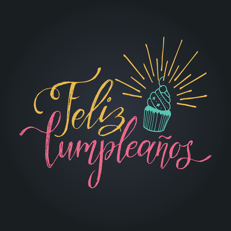 Vector Feliz Cumpleanos, translated Happy Birthday lettering design. Festive illustration with cake for greeting cards. Imagens - 79995895