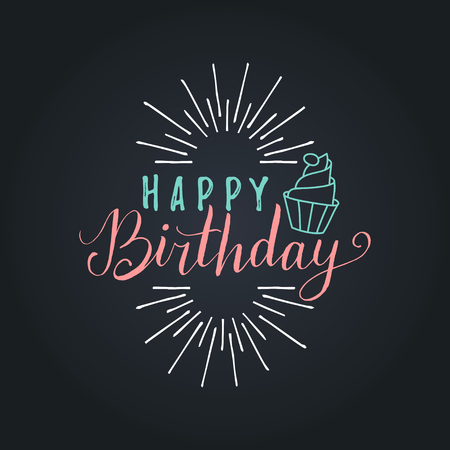 Vector Happy Birthday to You lettering design.Festive illustration with cake on black background for greeting cards etc.