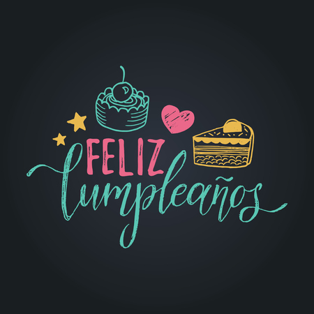 Vector Feliz Cumpleanos, translated Happy Birthday lettering design. Festive illustration with cake for greeting cards. Imagens - 79987486