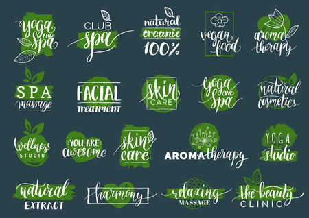 centers: Vector health and beauty care labels. Spa,yoga centers badges. Wellness signs. Hand drawn tags set for organic cosmetics