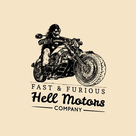 猛烈な勢いで広告ポスター。ロゴベクトルの手は、オートバイでスケルトン ライダーを描画します。ビンテージの永遠のバイク イラスト。  イラスト・ベクター素材