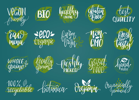 gmo: Vector eco, organic, bio signs. Vegan, healthy food illustrations set for cafe, restaurant badges, tags, packaging etc.