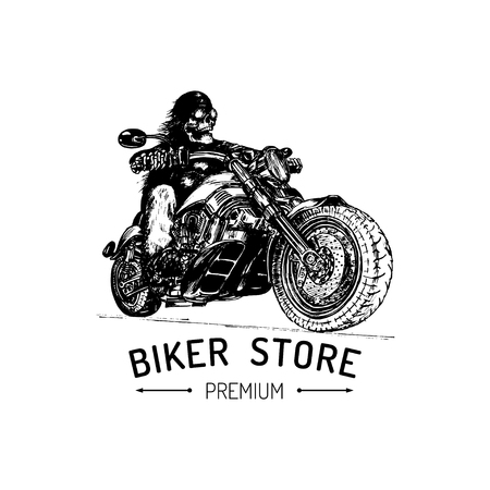 Biker Store advertising poster. Vector hand drawn skeleton rider on motorcycle. Vintage illustration for MC label etc. Illustration