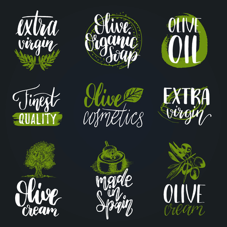 Vector hand lettering olive production signs.Sketched extra virgin oil illustrations set for farm,cosmetics produce etc.