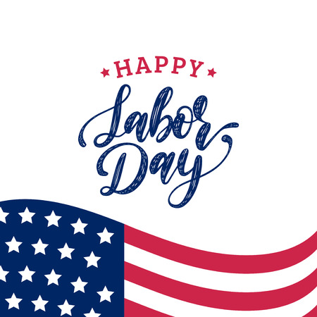 Vector Labor Day greeting or invitation card. American holiday illustration with USA flag. Poster with hand lettering. Stock Vector - 84278075